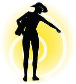 Tourist woman silhouette with handbag and sunglasses — Stok Vektör