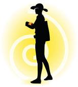 Tourist woman silhouette with handbag and sunglasses — Stock Vector