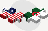USA and Algeria Flags in puzzle — Stock Vector