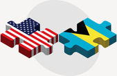 USA and Bahamas Flags in puzzle  — Stock Vector