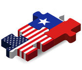 USA and Chile Flags in puzzle  — Vecteur