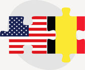 USA and Belgium Flags in puzzle — Stock Vector