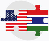 USA and Gambia Flags in puzzle  — ストックベクタ
