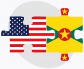 USA and Grenada Flags in puzzle  — Cтоковый вектор