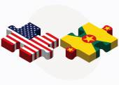 USA and Grenada Flags in puzzle  — Wektor stockowy