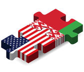 USA and Belarus Flags in puzzle — Stock Vector