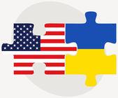 USA and Ukraine Flags in puzzle  — Vetor de Stock