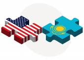 USA and Kazakhstan Flags in puzzle — Stock Vector