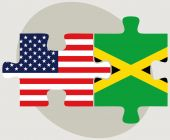 USA and Jamaica Flags in puzzle  — Stock Vector