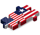 USA and Liberia Flags in puzzle — Stock Vector