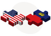 USA and Liechtenstein Flags in puzzle — Stock Vector