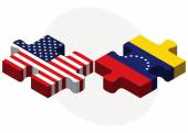 USA and Venezuela Flags in puzzle — Stock Vector