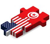 USA and Tunisia Flags in puzzle  — Stok Vektör