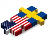 USA and Sweden Flags in puzzle — Stock Vector