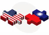 USA and Taiwan Flags in puzzle — Stock Vector