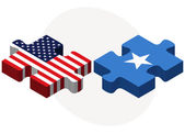USA and Somali Flags in puzzle — Stock Vector