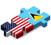 USA and Saint Lucia Flags in puzzle — Stock Vector