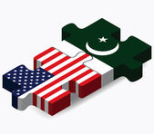 USA and Pakistan Flags in puzzle — Vector de stock