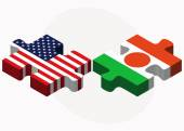 USA and Niger Flags in puzzle — Wektor stockowy