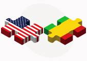 USA and Mali Flags in puzzle — Stock Vector