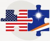 Сша и Маршалловы острова флаги в головоломка — Cтоковый вектор