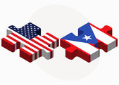 USA and Puerto Rico Flags in puzzle — Stock Vector