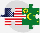 USA and Cocos (Keeling) Islands Flags in puzzle — Vettoriale Stock