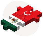 Mexico and Turkey Flags in puzzle — Stock Vector