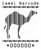 Camel silhouette in barcode — Stock Vector