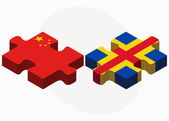 China and Aaland Islands Flags in puzzle — Stock Vector