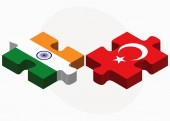 India e Turchia bandiere in puzzle — Vettoriale Stock