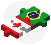 Canada and Brazil Flags in puzzle — Stock Vector