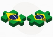 Brazil and Brazil Flags in puzzle — Stock Vector