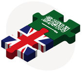 United Kingdom and Saudi Arabia Flags in puzzle — Stock Vector