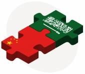 China and Saudi Arabia Flags in puzzle — Stock Vector
