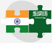 India and Saudi Arabia Flags in puzzle — Stock Vector