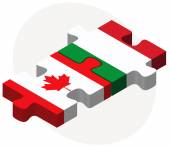 Canada and Italy Flags in puzzle — Stock Vector
