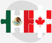 Mexico and Canada Flags in puzzle — Stock Vector