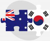 Australia and South Korea Flags in puzzle — Stock Vector