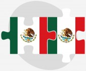 Mexico and Mexico Flags in puzzle — Vecteur