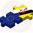 Постер, плакат: European Union and Brunei Darussalam Flags in puzzle