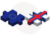 European Union and Faroe Islands Flags in puzzle — 图库矢量图片