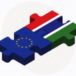 Постер, плакат: European Union and Gambia Flags in puzzle isolated on white back