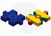 欧州連合およびグレナダのフラグのパズルに分離白バク — ストックベクタ