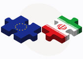 European Union and Iran Flags in puzzle — Stock Vector
