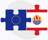European Union and French Polynesia Flags in puzzle isolated on  — Cтоковый вектор