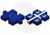 European Union and Martinique Flags in puzzle — Stock Vector