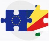 Europese Unie en de Seychellen vlaggen — Stockvector