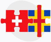 Zwitserland en de Aaland eilanden vlaggen — Stockvector