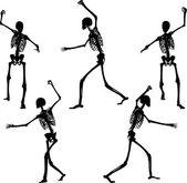 Skeleton silhouette in intimidating pose — Stock Vector